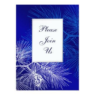 "Blue and White Pine Custom Invitation Template 5.5"" X 7.5"" Invitation Card"