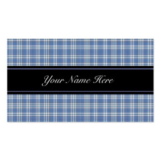 Blue and White Plaid Business Card