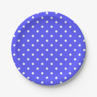 Blue and white polka dot modern glamour 7 inch paper plate