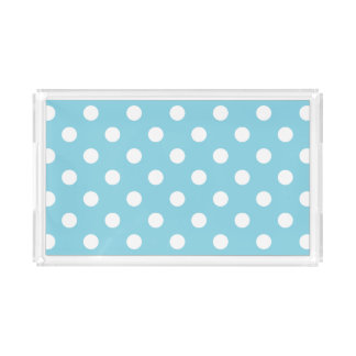 Blue and White Polka Dot Pattern Acrylic Tray