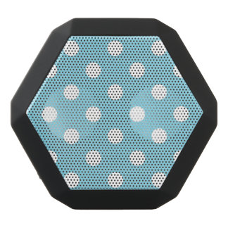Blue and White Polka Dot Pattern Black Bluetooth Speaker