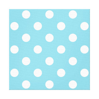 Blue and White Polka Dot Pattern Canvas Print