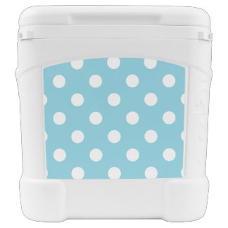 Blue and White Polka Dot Pattern Cooler