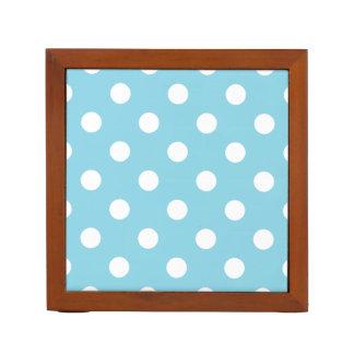 Blue and White Polka Dot Pattern Desk Organiser