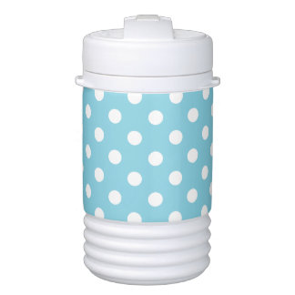 Blue and White Polka Dot Pattern Drinks Cooler