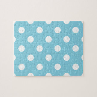 Blue and White Polka Dot Pattern Jigsaw Puzzle