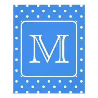 Blue and White Polka Dot Pattern Monogram. Custom. 11.5 Cm X 14 Cm Flyer