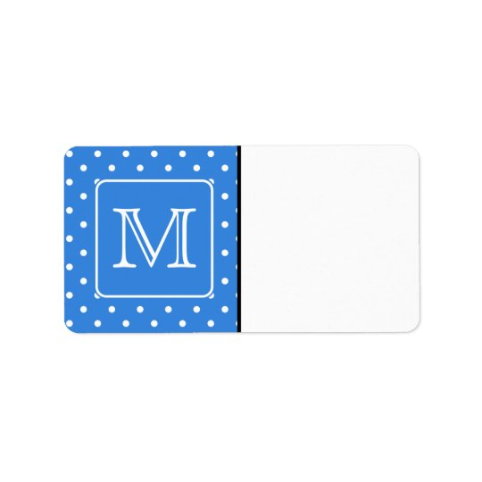 Blue and White Polka Dot Pattern Monogram. Custom. Address Label