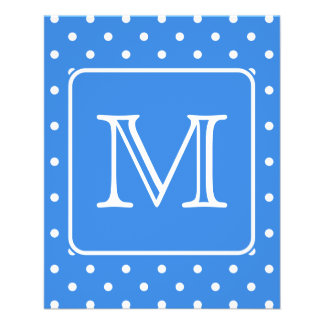 Blue and White Polka Dot Pattern Monogram. Custom. Personalized Flyer