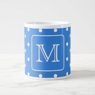 Blue and White Polka Dot Pattern Monogram. Custom. Jumbo Mug