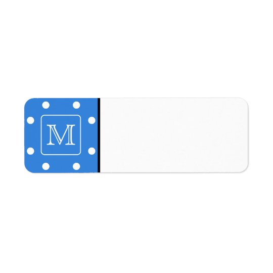 Blue and White Polka Dot Pattern Monogram. Custom. Return Address Label