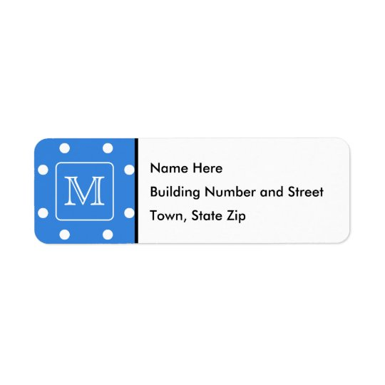 Blue and White Polka Dot Pattern Monogram. Custom. Return Address Label
