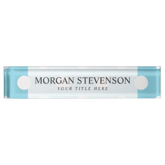 Blue and White Polka Dot Pattern Name Plate