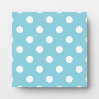 Blue and White Polka Dot Pattern Plaque