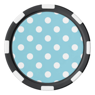 Blue and White Polka Dot Pattern Poker Chips