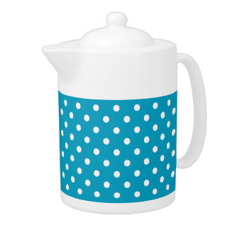 Blue And White Polka Dot Pattern Teapot