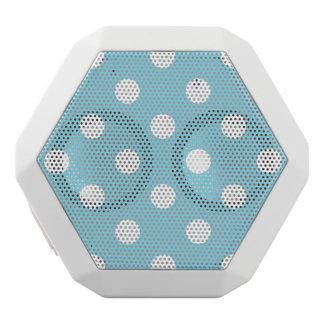 Blue and White Polka Dot Pattern White Bluetooth Speaker