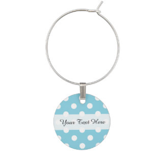 Blue and White Polka Dot Pattern Wine Charm