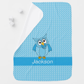 Blue and White Polka Dot Pattern with a Baby Owl Baby Blanket