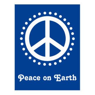 Blue and White Polka Dot Peace on Earth Postcard