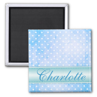 Blue and White Polka Dot Personalized Square Magnet