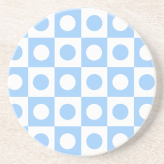 Blue and White Polka Dot Squares Drink Coaster