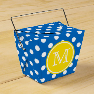 Blue and White Polka Dot With Yellow Monogram Favour Box
