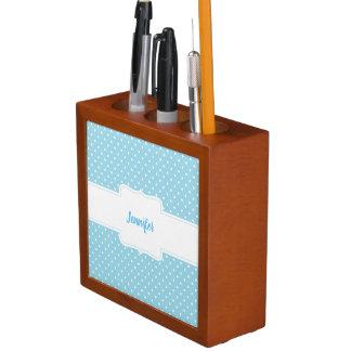 Blue and White Polka Dots Desk Organizer