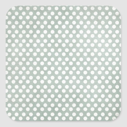 Blue and White Polka Dots Faded Square Sticker