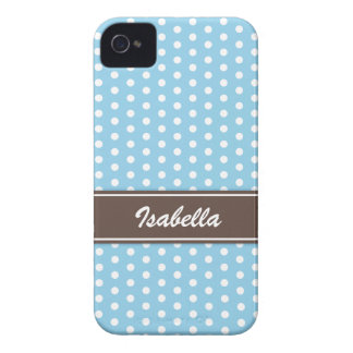 Blue and white polka dots iPhone 4 case