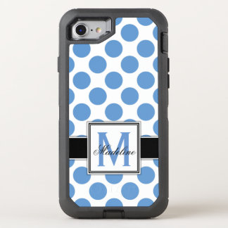 Blue and White Polka Dots Monogram OtterBox Defender iPhone 8/7 Case