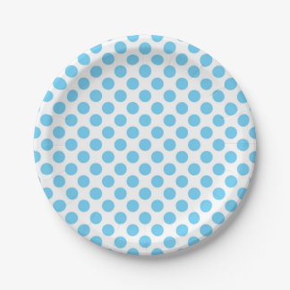 Blue and white polka dots pattern 7 inch paper plate