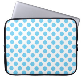 Blue and white polka dots pattern laptop sleeve
