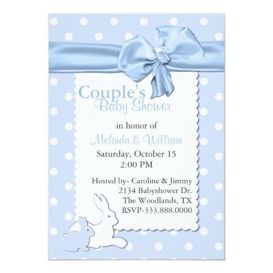 Blue and White Polka Dots With Rabbits Baby Shower Card