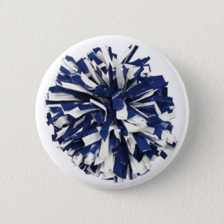 Blue and White Poms 6 Cm Round Badge