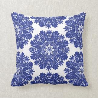 Blue and White Porcelain Baroque Throw Pillow