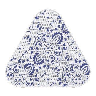 blue and white print speakers