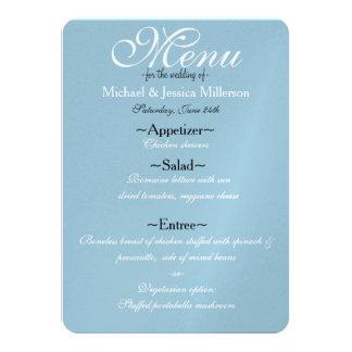 Blue and White Quatrefoil Wedding Menu Card