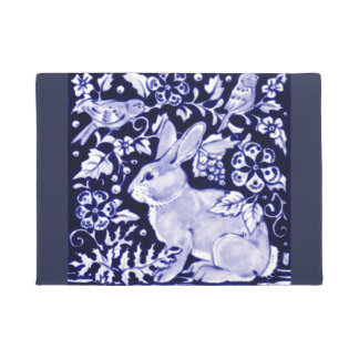 Blue and White Rabbit Bird Floral Doormat Welcome