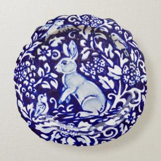 Blue and White Rabbit Birds Scrolls Round Pillow
