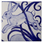 "Blue and White Rabbit Ceramic Tile Art Deco 6"""