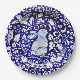 Blue and White Rabbit Floral Designer Paper Plates