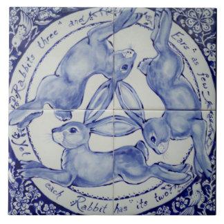 Blue and White Rabbit Hare Trio Bird Tile Trivet