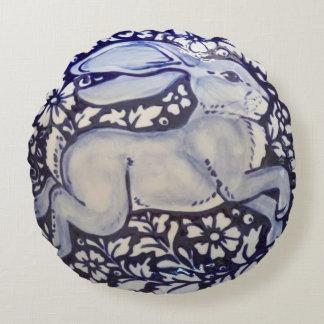 Blue and White Rabbit Pillow Indigo Cobalt Dedham
