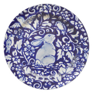 Blue and White Rabbit Pottery Look Melamine Plate