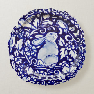 Blue and White Rabbit Pottery Look Round Pillow