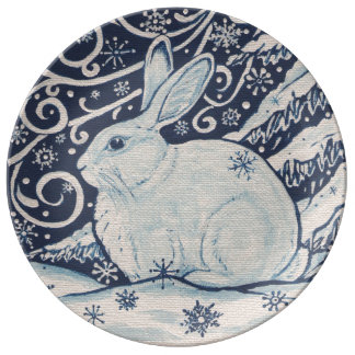 Blue and White Rabbit Snow Winter Christmas Plate