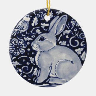 Blue and White Rabbit with Bird Tile Design Ceramic Ornament