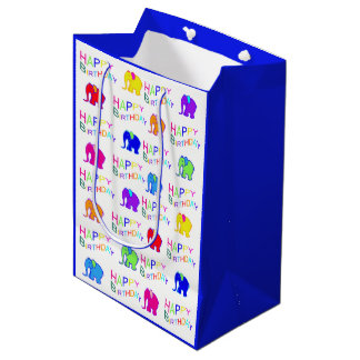Blue and White Rainbow Cartoon Elephants Birthday Medium Gift Bag