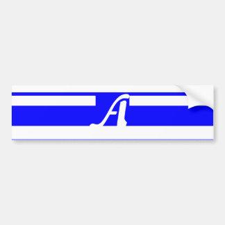 Blue and White Random Stripes Monogram Bumper Stickers